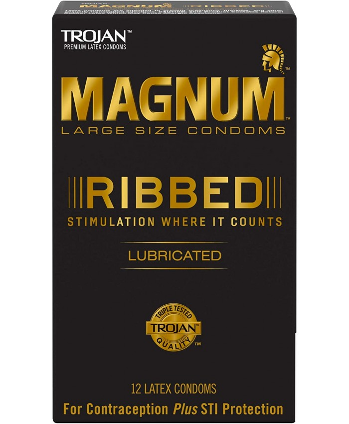 Trojan Magnum Ribbed Lubricated Condoms