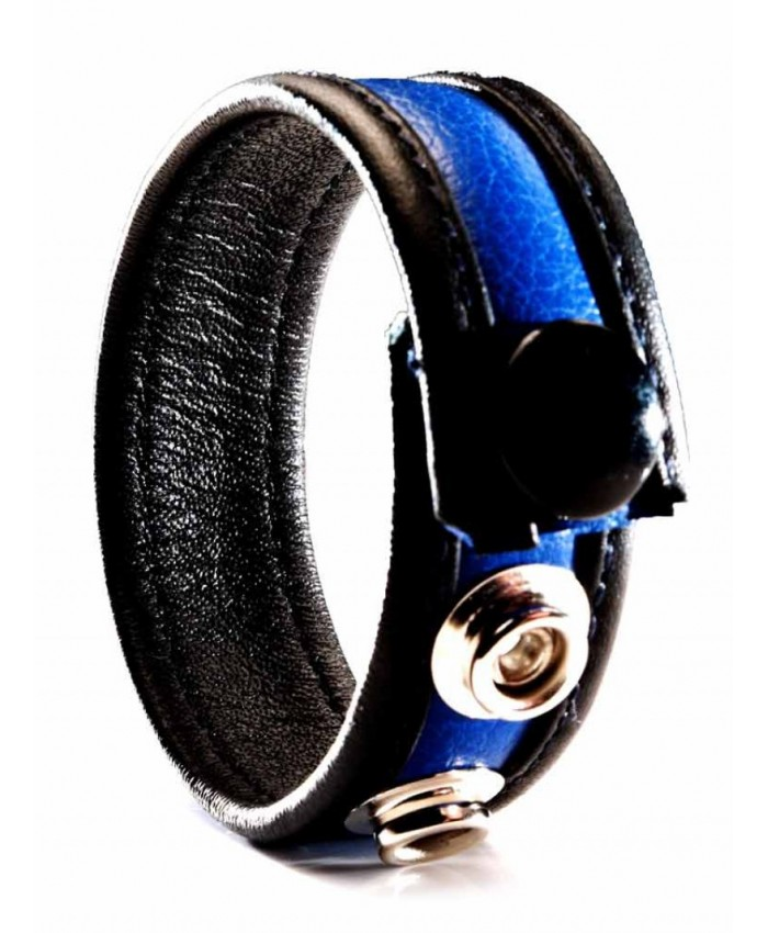 Leather Cock Strap  Blue