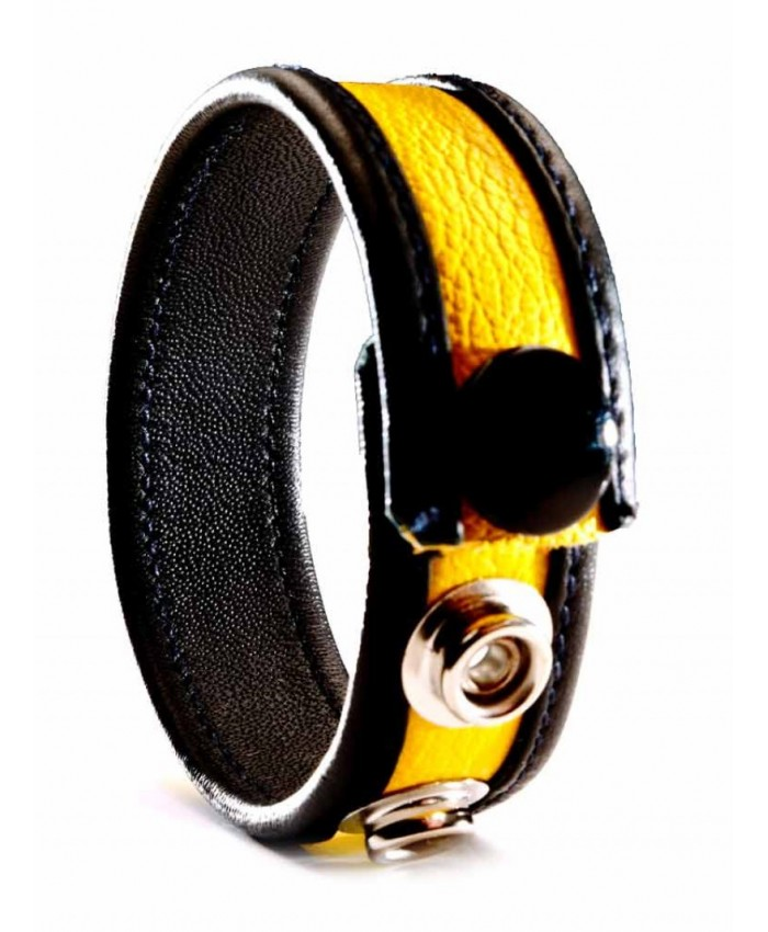 Leather Cock Strap  Yellow
